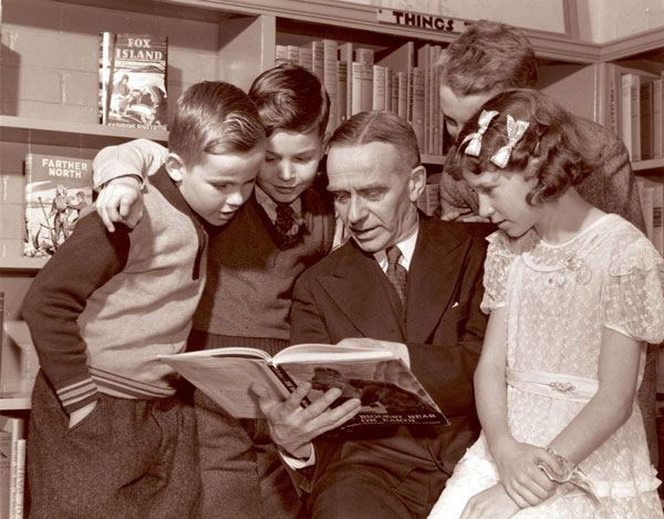 Charles R. Sanderson, TPL chief librarian, at the opening of East York children's libraries, 7 November 1944