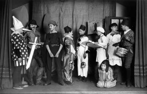 Cast of Pinocchio at Boys and Girls House Little Theatre, 1930s