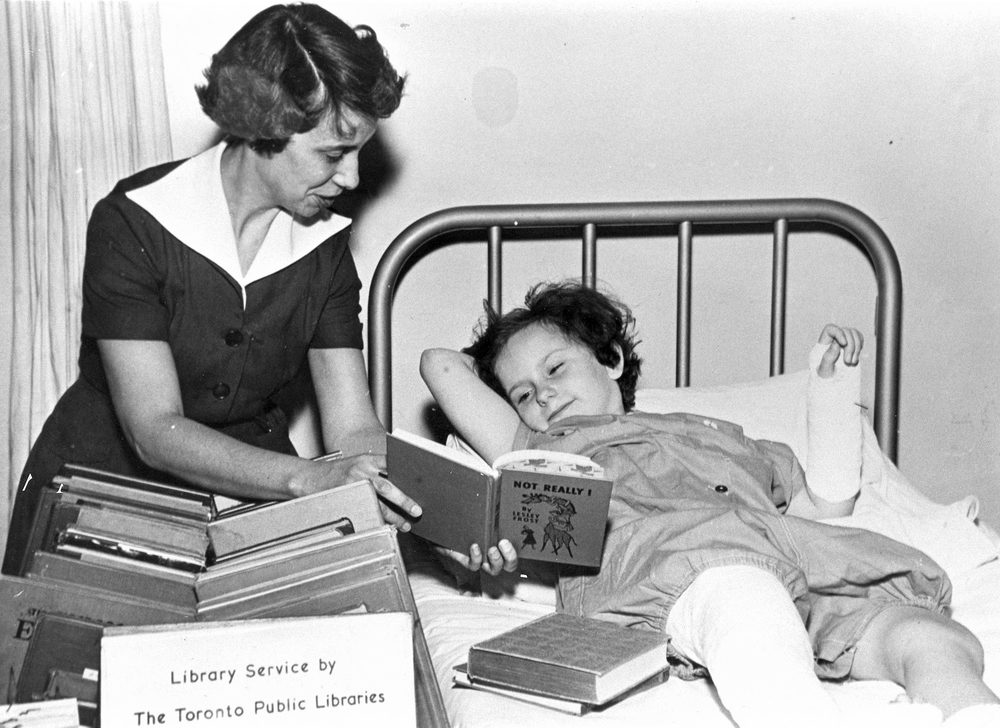 Librarian Marguerite Bagshaw at the Hospital for Sick Children, 1955