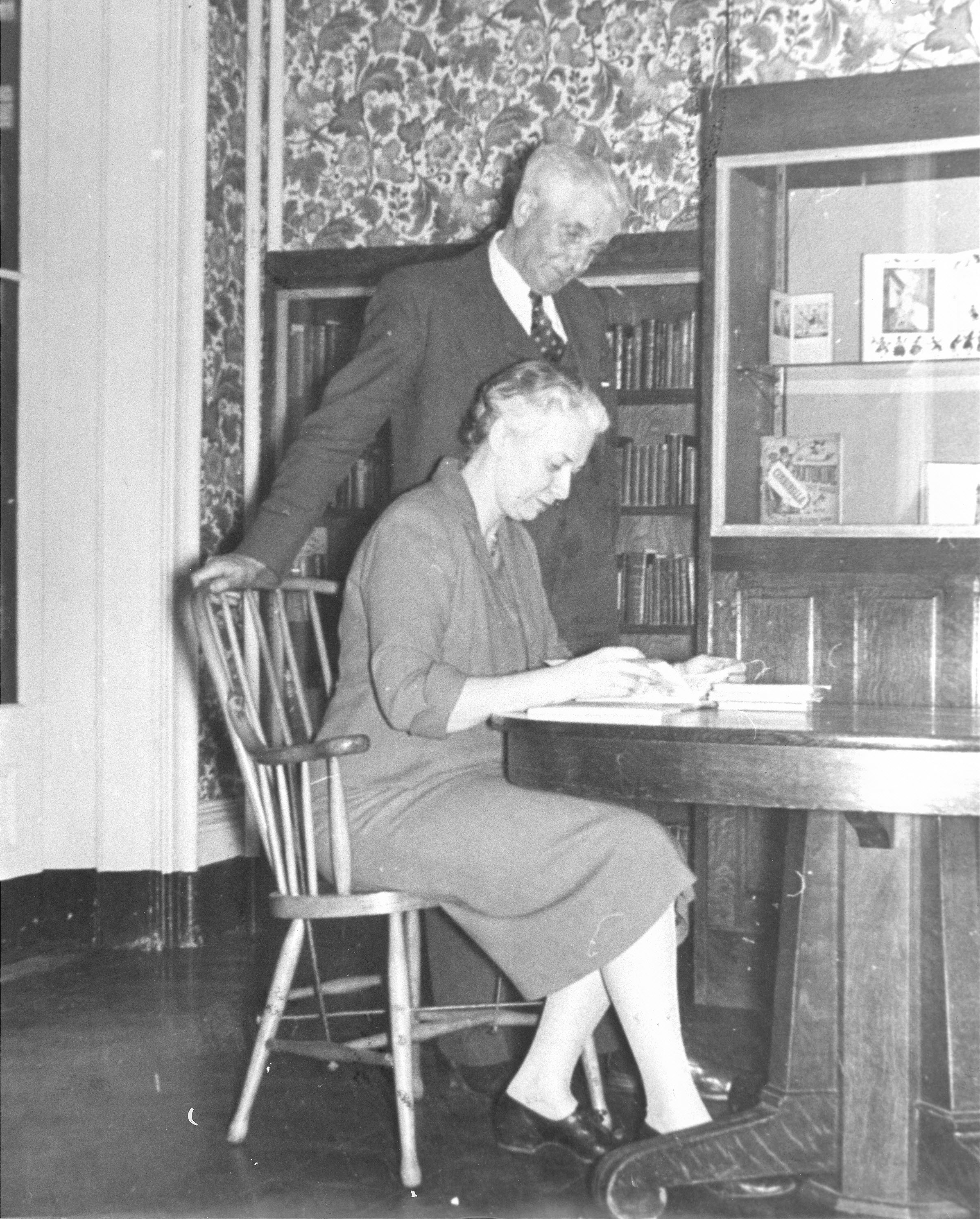 Edgar Osborne and Judith St. John, head of the Osborne Collection, about 1950