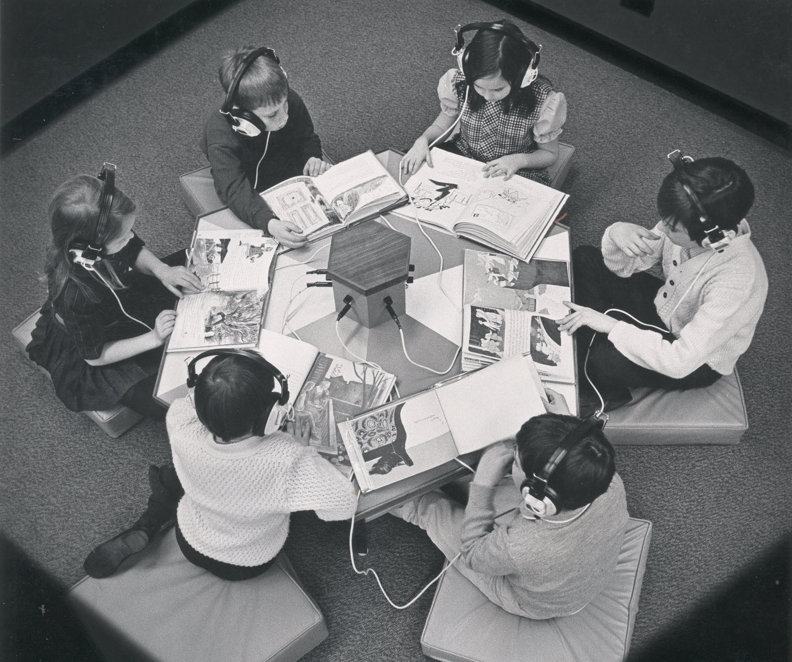 Listening station at Learning Resources Centre, 1969