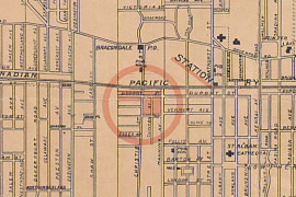 Location of Bracondale Post Office, 1900. Detail from Bracondale estate in the city of Toronto.