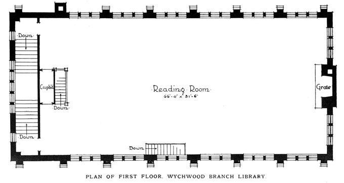 Plan of First Floor, Wychwood Branch Library, 1915.