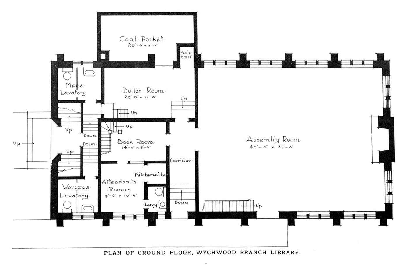 Plan of Ground Floor, Wychwood Branch Library, 1915.