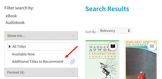 Search results with arrow pointing to Additional Titles to Recommend under filters