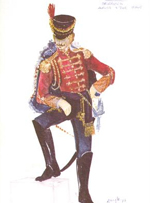 design drawing of man in soldier's uniform