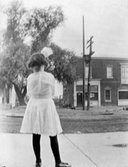 photo or girl on Danforth Ave, 1913.