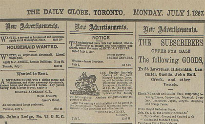 Globe and Mail - July 1, 1867
