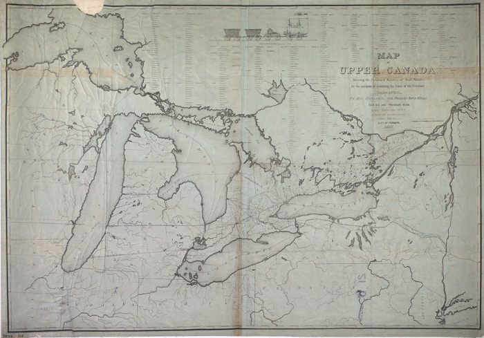 Smyth, John.  Map of Upper Canada shewing the proposed routes of railroads..1837.