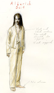 costume design drawing of a man
