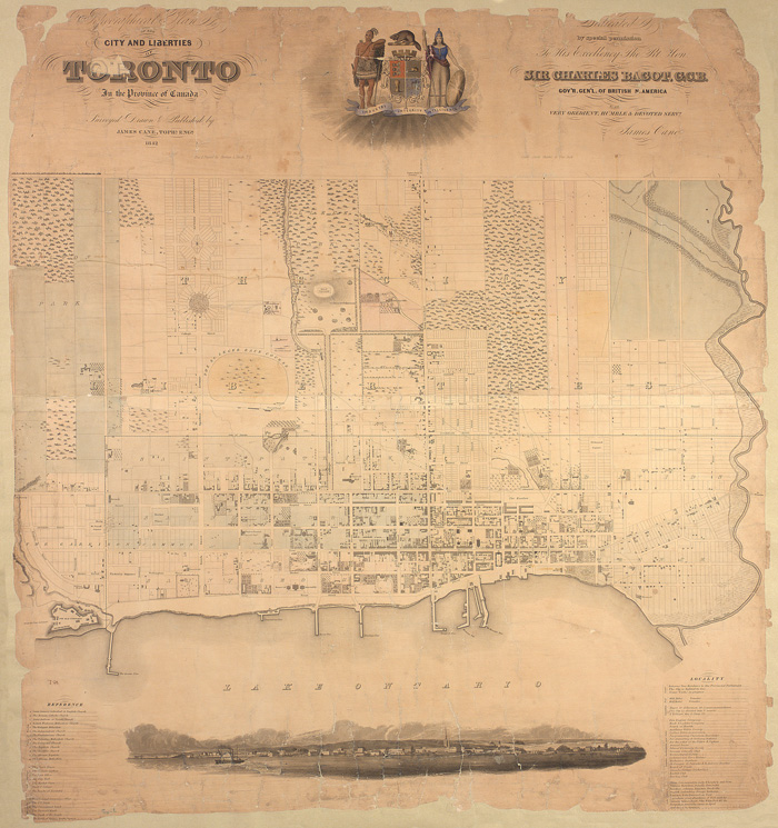 Cane, James. Topographical plan of the City of Toronto and liberties.  1842.  T1842/4mlrg