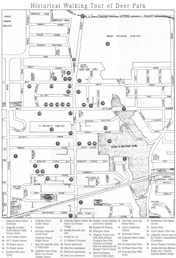 Map of Historical Walking Tour of Deer Park