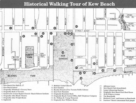 Map of Historical Walking Tour of Kew Beach