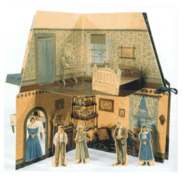 Paper dollhouse with small figures standing inside