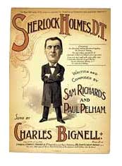 Sherlock Holmes D.T. Musical score of a music-hall song for voice and piano, c1901