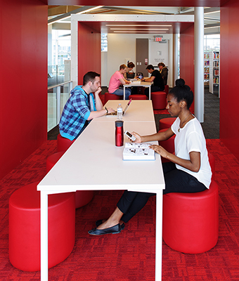 Pods are flexible, wired spaces for collaboration, study or innovation