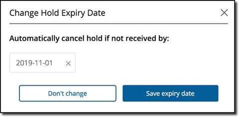 Screenshot of how to change hold expiry date