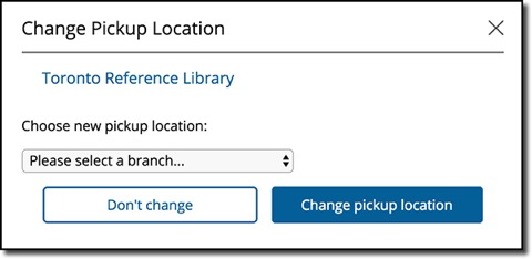 Screenshot of how to change hold pickup location