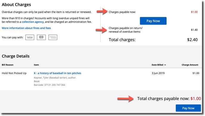 Screenshot of all charges